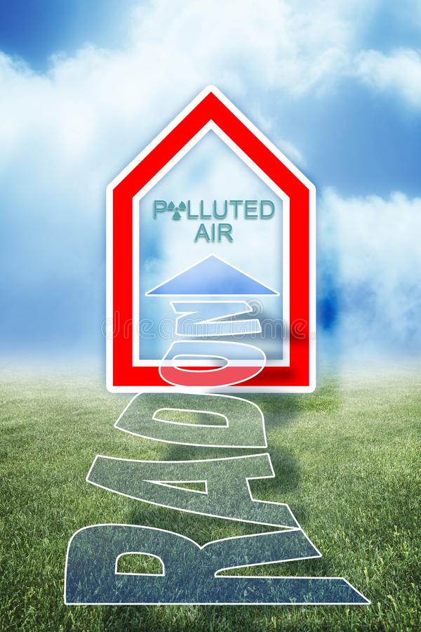 进入您家庭的概念例证的危险,无气味和无色的氡气气体 库存照片