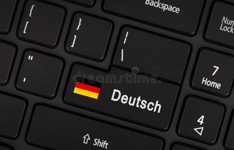进入有旗子的德国-语言的概念按钮 库存图片