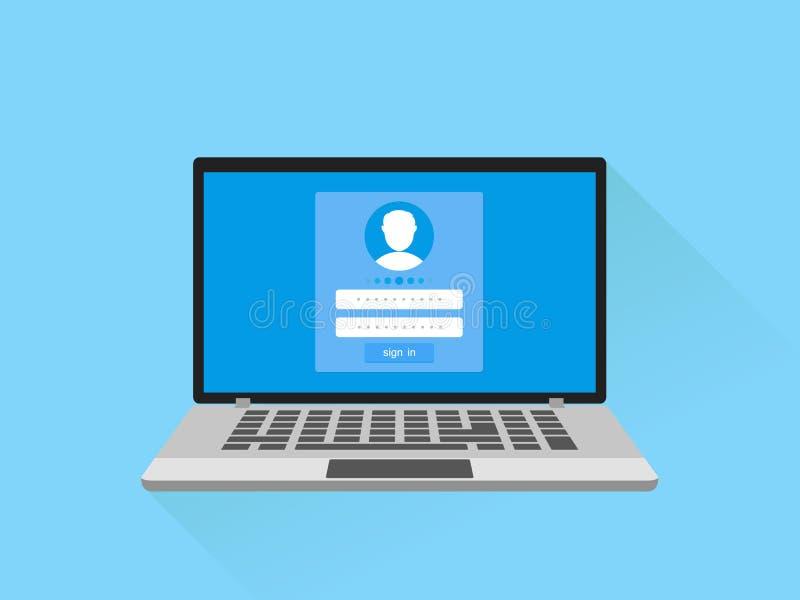 进入注册和密码概念 有注册形式页的膝上型计算机在屏幕上 签到对您的帐户 也corel凹道例证向量 向量例证