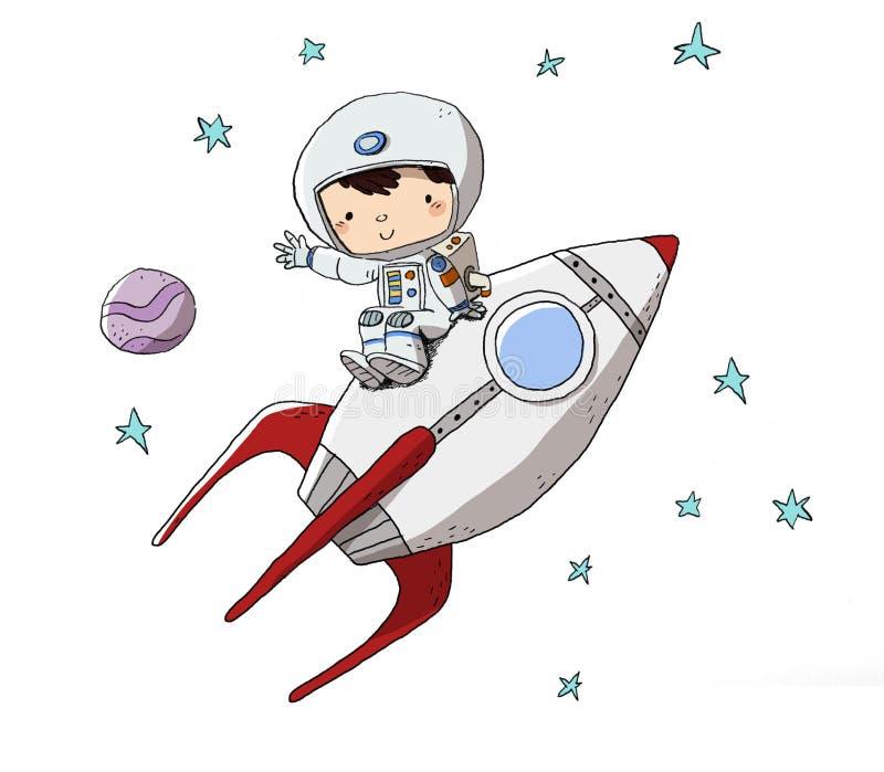 进入空间的航天服的孩子 向量例证