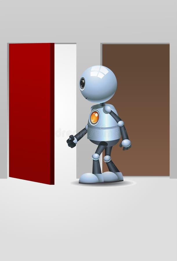 进入红色门的一点机器人 皇族释放例证