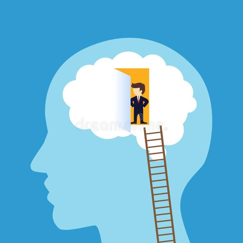 进入脑子的商人 库存例证