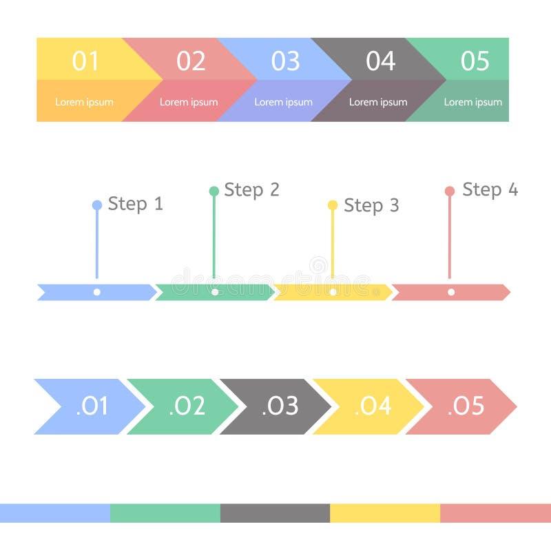 进展图统计概念 介绍的Infographic模板 时间安排统计图 企业流程进程 向量例证