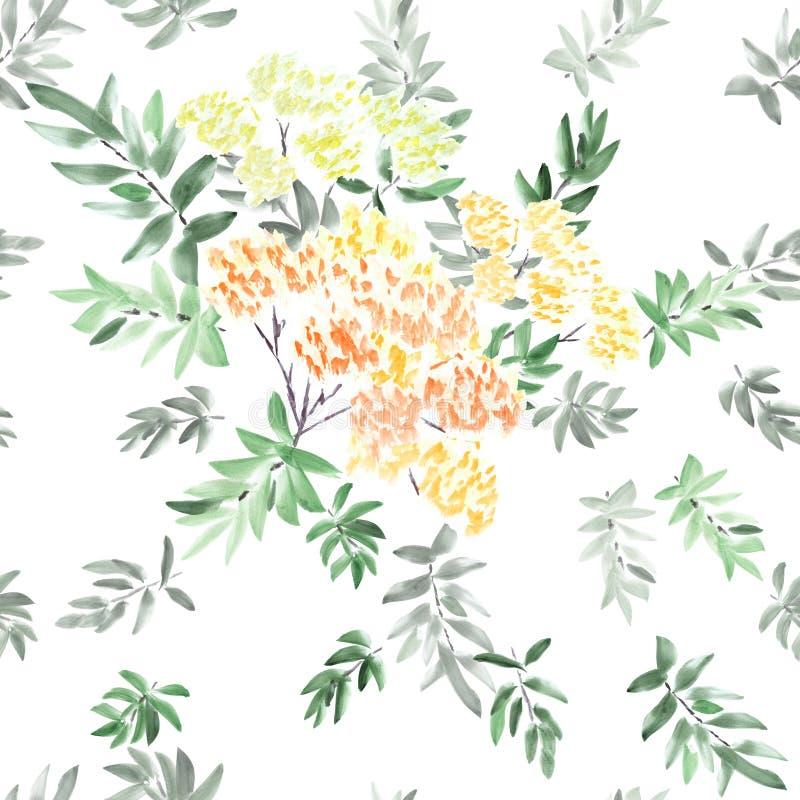 进展的春天分支的无缝的样式与橙色,黄色,红色花和灰色和绿色的在白色背景离开 wat 向量例证