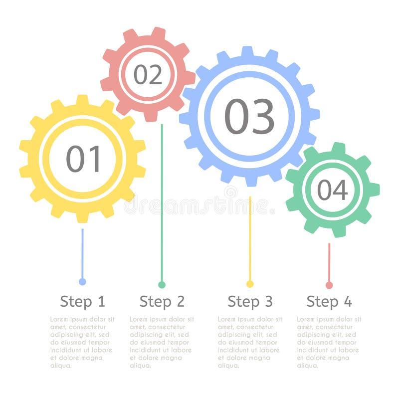 进展统计概念 介绍的Infographic模板 时间安排统计图 企业流程进程 向量例证