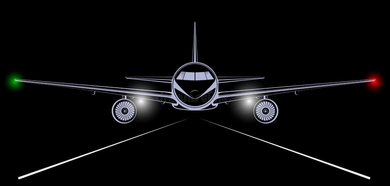 进来喷气机的班机的明亮的剪影登陆在夜黑色天空 皇族释放例证