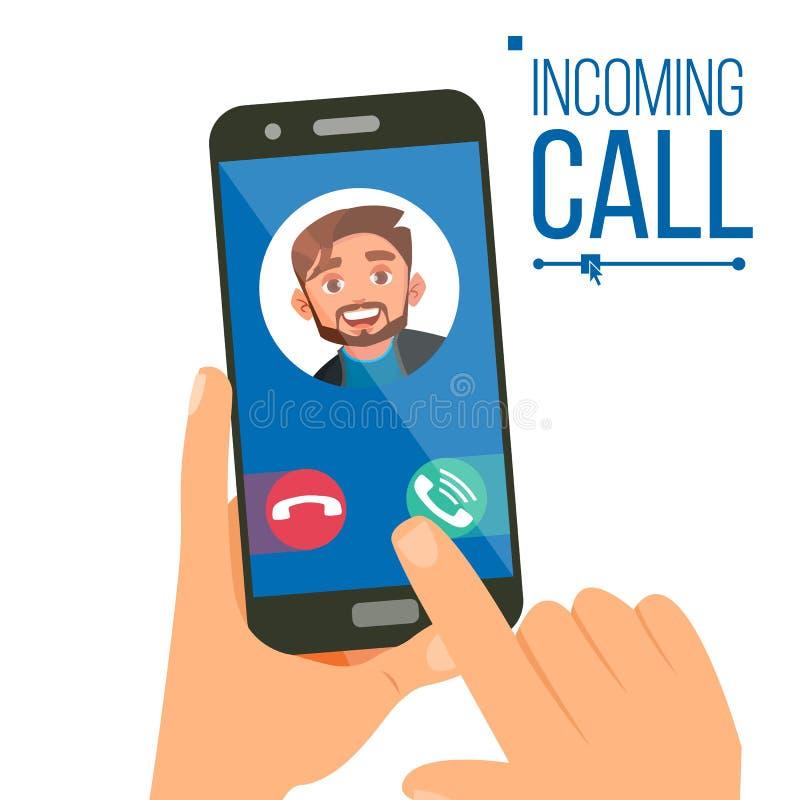 进来电话传染媒介 在流动智能手机屏幕上的人面孔 叫服务应用 录影,声音交谈 向量例证