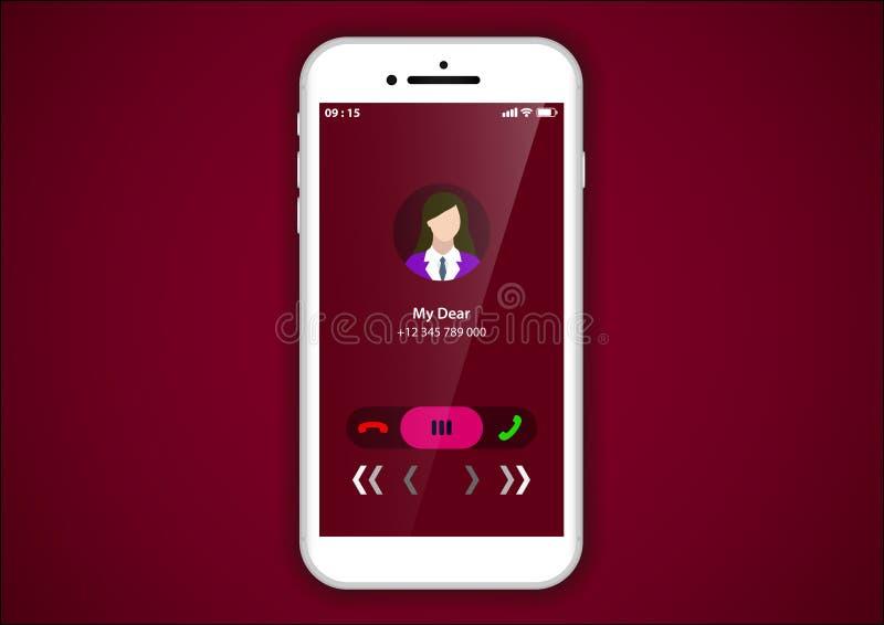 进来电话用户界面 皇族释放例证