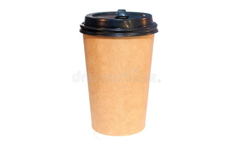 进来的咖啡在白色隔绝的一一次性纸杯 库存照片