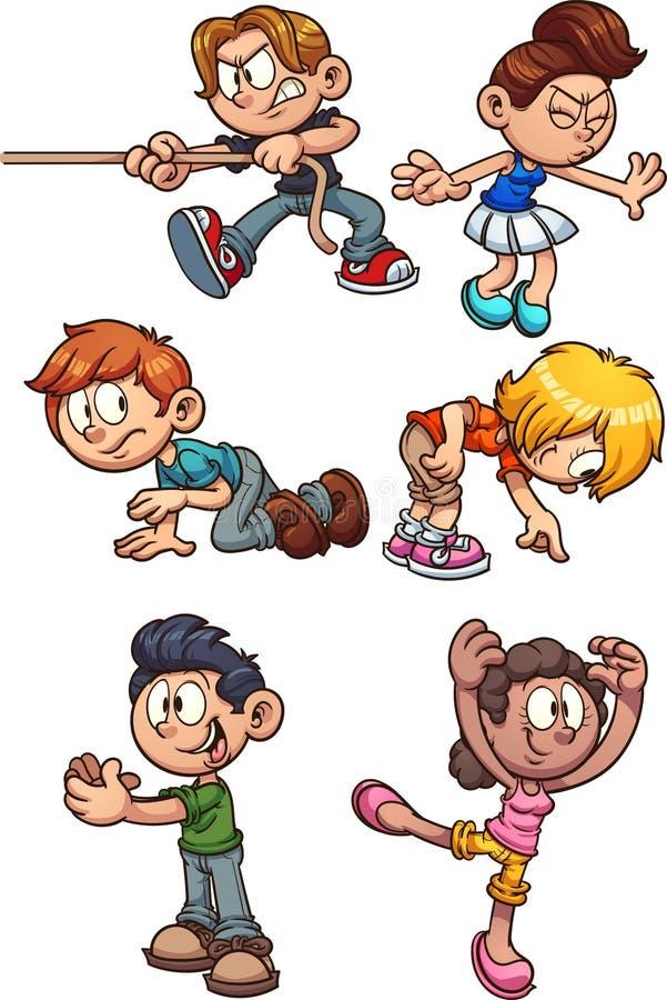 进行不同的行动的动画片孩子 向量例证