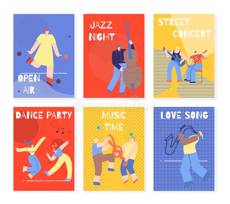进行人五颜六色的卡集的音乐党 库存例证