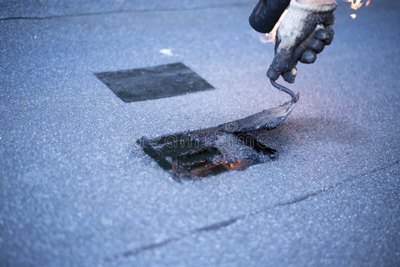 进行修理的盖屋顶的人屋顶, 免版税库存图片