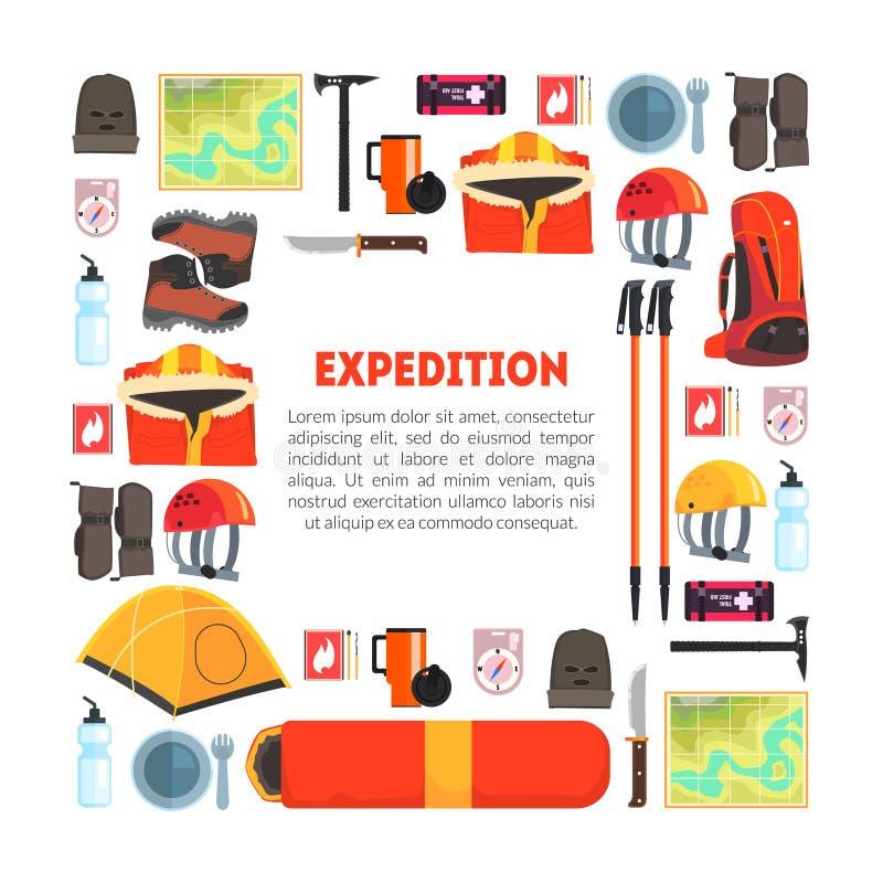 远征设备与地方的横幅模板文本,远足,野营和登山的,旅行辅助部件导航 皇族释放例证