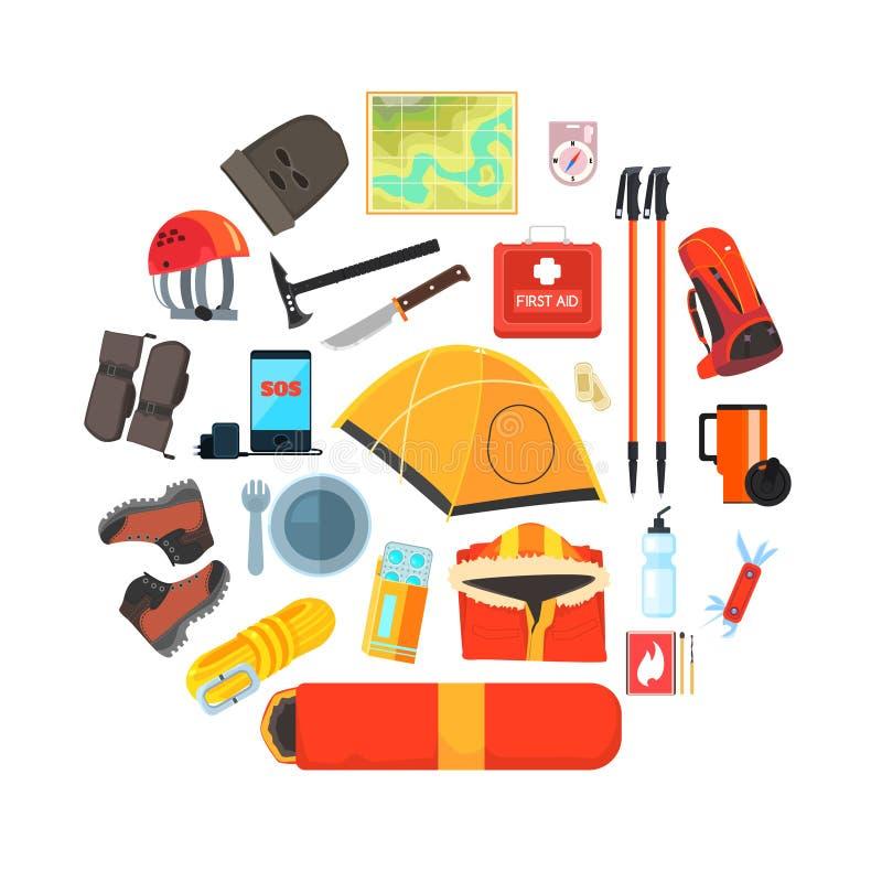 远征设备集合,远足,野营和登山工具,旅游业,远征标志导航例证 库存例证