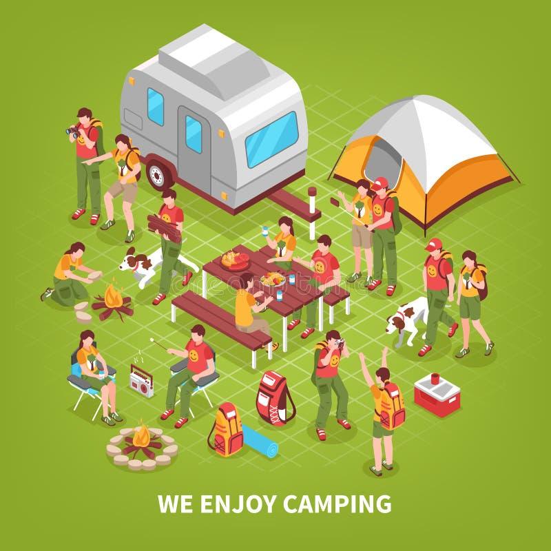 远征野营的等量海报 库存例证