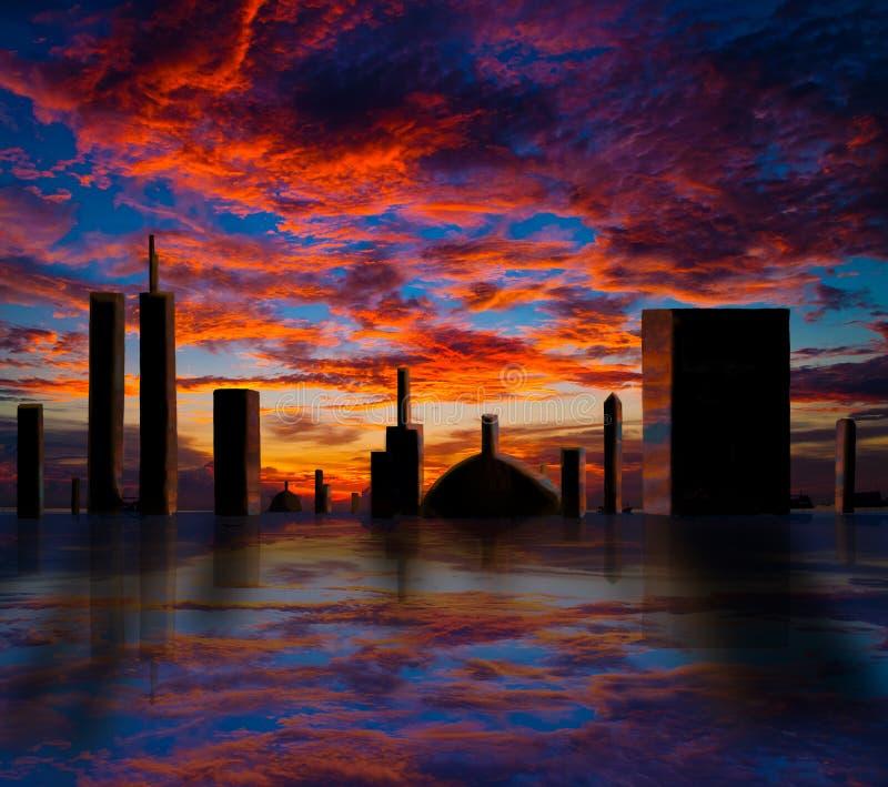Download 远期城市 库存例证. 插画 包括有 反映, 城市, 日落, 城镇, 圆顶, 拱道, 天空, 布哈拉, 蓝色 - 28904592