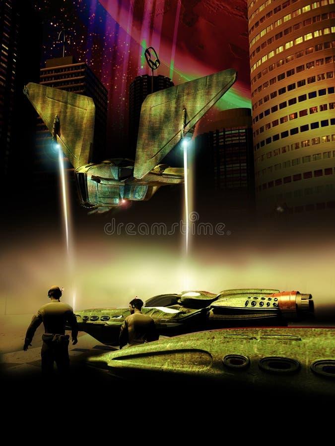 远的行星城市 库存例证