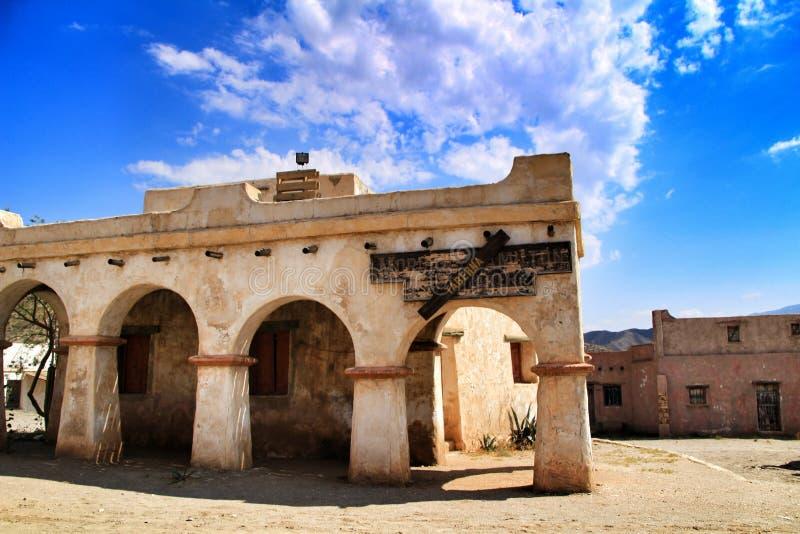 远的西部老镇在阿尔梅里雅 库存照片