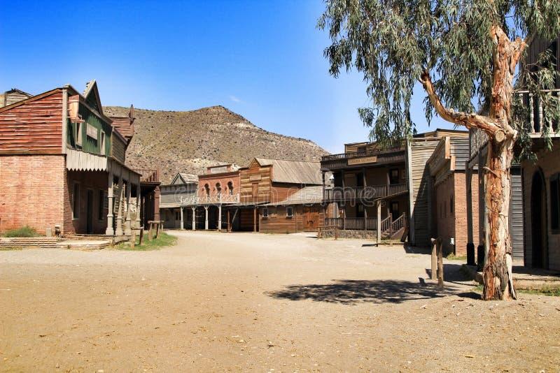 远的西部老镇在阿尔梅里雅 图库摄影