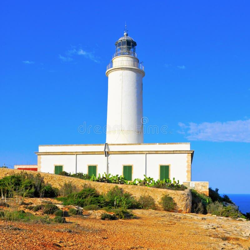 远的de la Mola在Formentera,巴利阿里群岛,西班牙 免版税库存图片