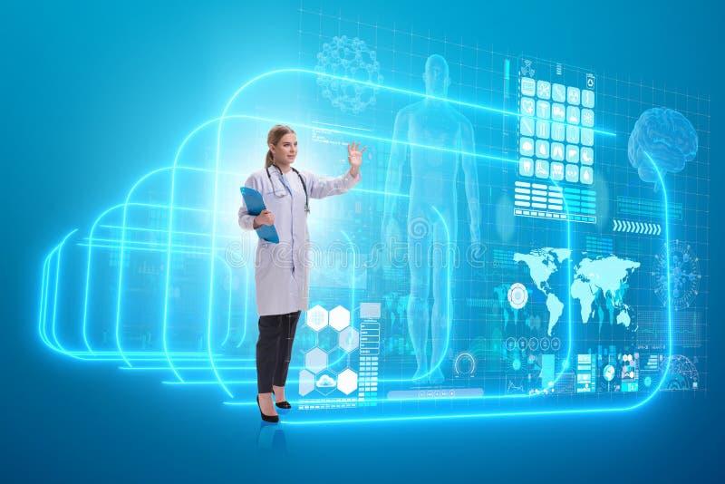 远程医学未来派概念的妇女医生 免版税图库摄影