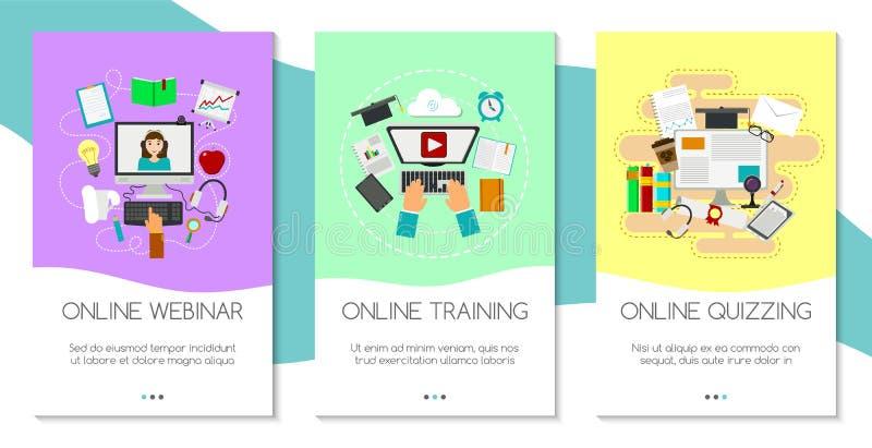远程教育套横幅 网上课程,webinar,测验,电子教学,讲解概念传染媒介例证 库存例证