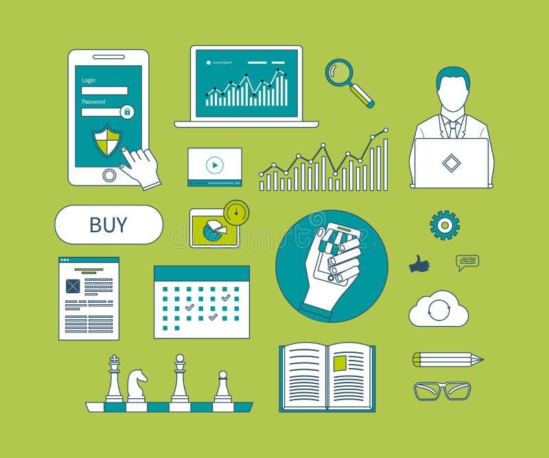远程教育,市场研究的概念 向量例证