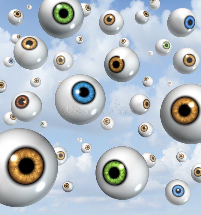 远见和眼睛球背景 库存例证
