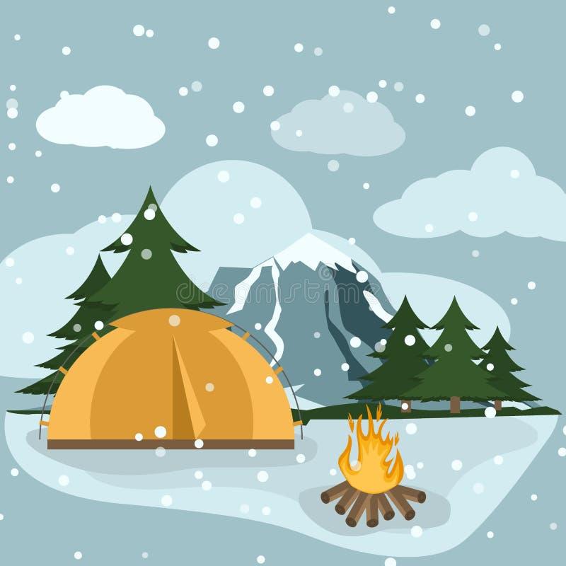 远足与帐篷山自然远足平的设计的野营的冬天冒险旅游风景导航例证 皇族释放例证