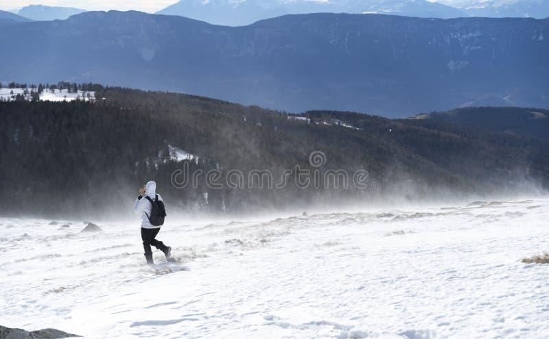 远足与backpackt hrough在一座山的上面的妇女暴风雪在南蒂罗尔意大利 库存图片