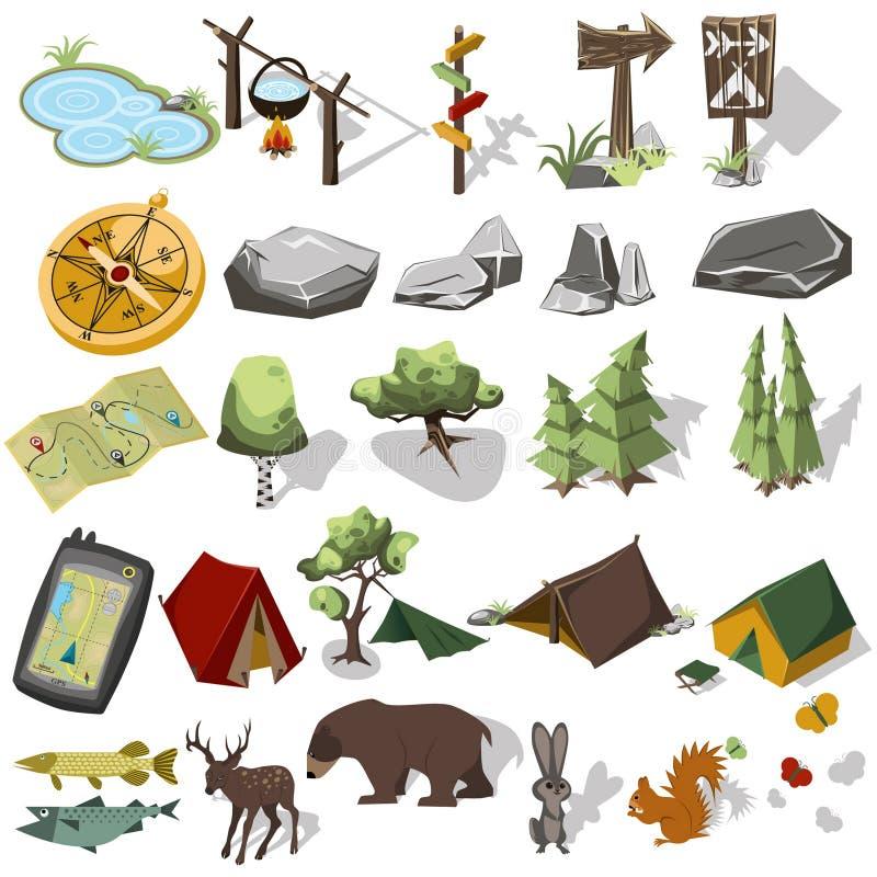 远足元素的等量3d森林 皇族释放例证