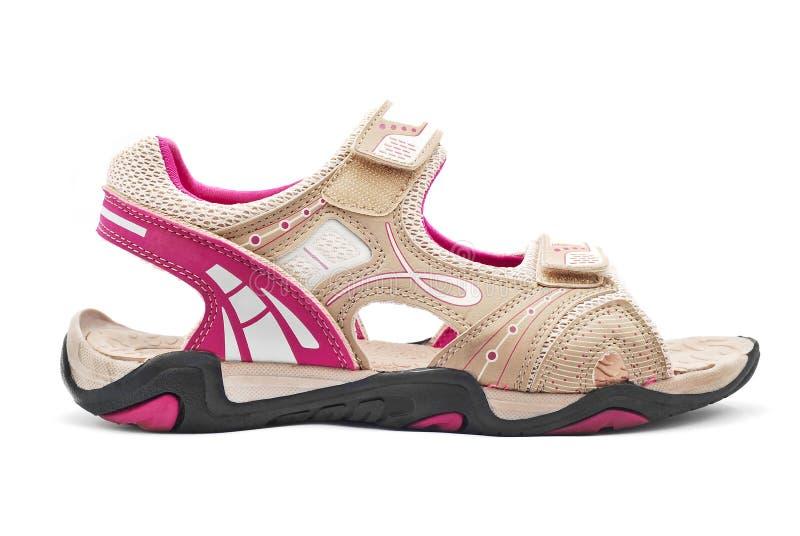 远足凉鞋的妇女 免版税库存图片