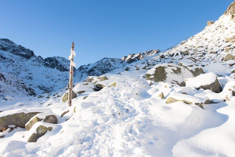 远足在多雪的山 山行迹在冬天 库存图片