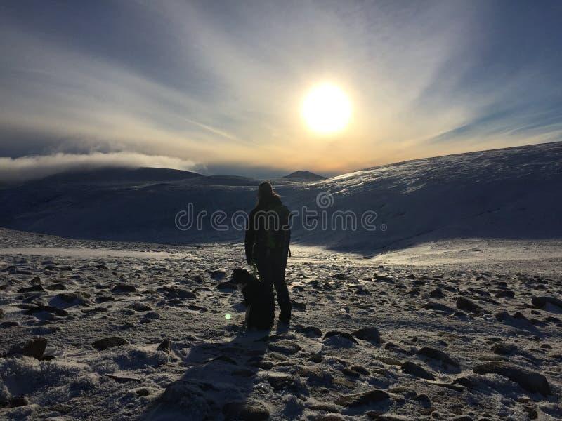 远足在山的妇女和狗 免版税库存图片