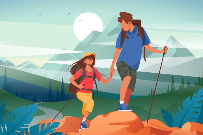 远足在山的平的年轻女人和人夫妇 向量例证