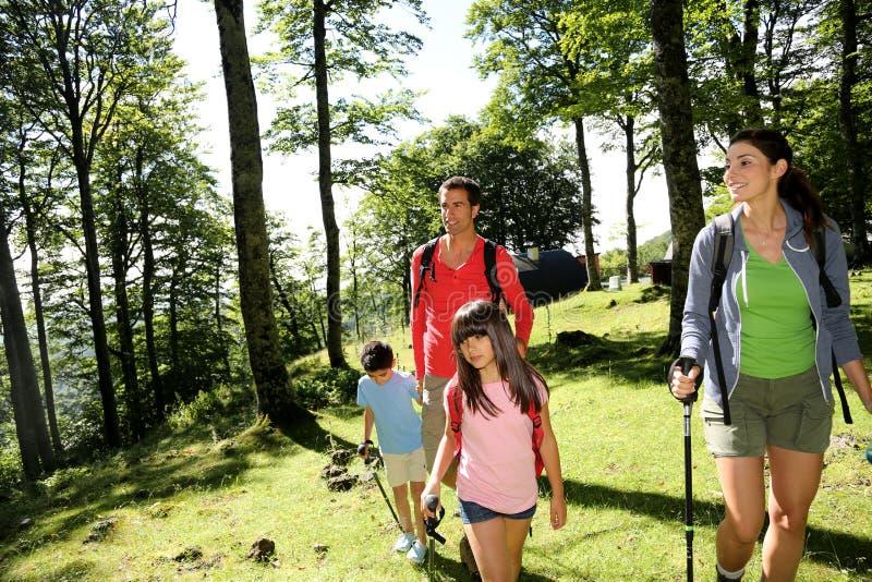 远足在森林里的家庭画象 免版税库存照片