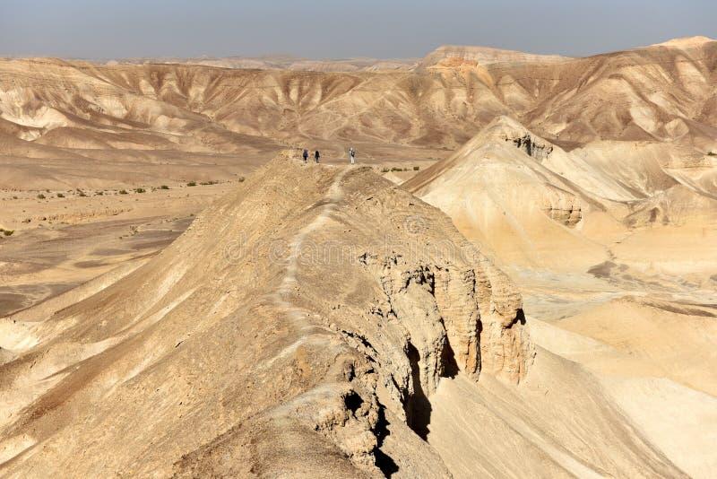 远足在沙漠山 免版税库存图片