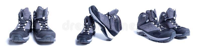 远足在白色背景隔绝的鞋子不同的看法  迁徙的起动的不同的边 免版税库存图片