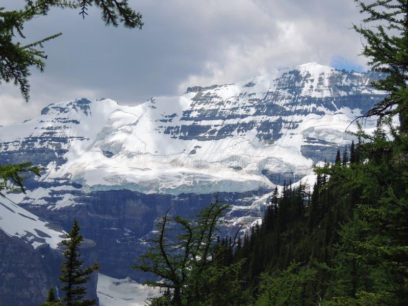 远足在路易丝湖, Lakeview足迹,六个冰川、湖艾格尼丝, Mirror湖,小和大蜂箱, nat的班夫平原附近的看法  免版税库存图片