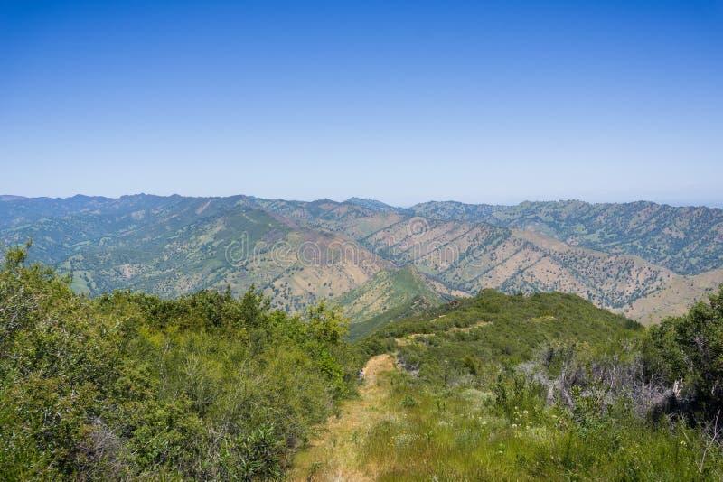 远足在Stebbins冷的峡谷,纳帕谷,加利福尼亚 库存照片