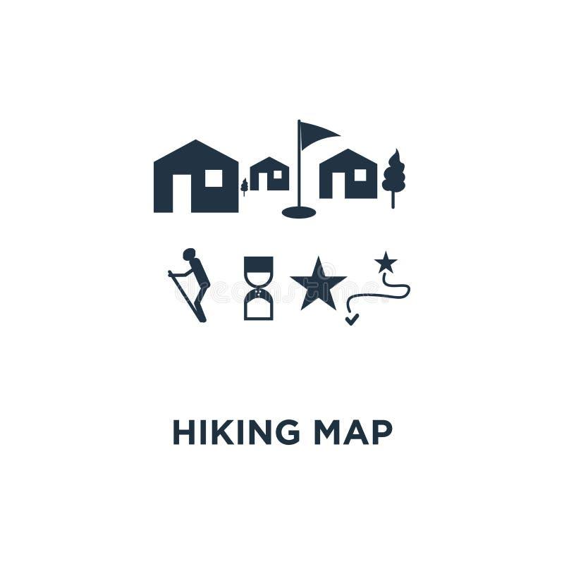 远足地图象 室外足迹,自然公园概念标志设计,乡下风景,北欧走,orienteering,足迹道路 向量例证