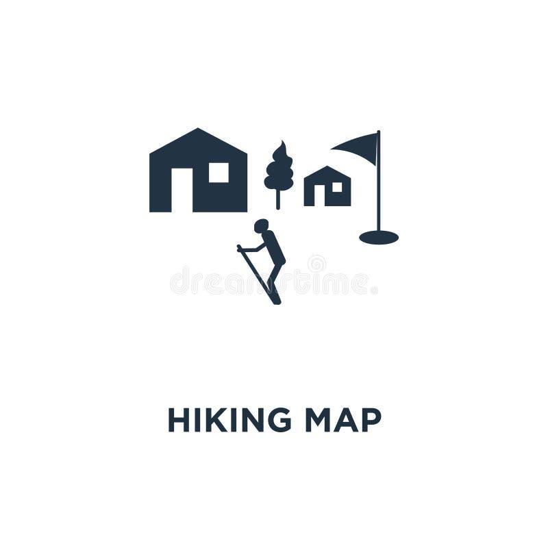 远足地图象 室外足迹,自然公园概念标志设计,乡下风景,北欧走,orienteering,足迹道路 皇族释放例证