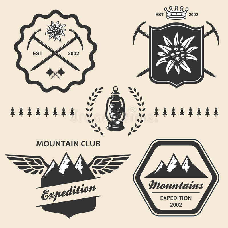 远足室外标志象征标签的山 库存例证