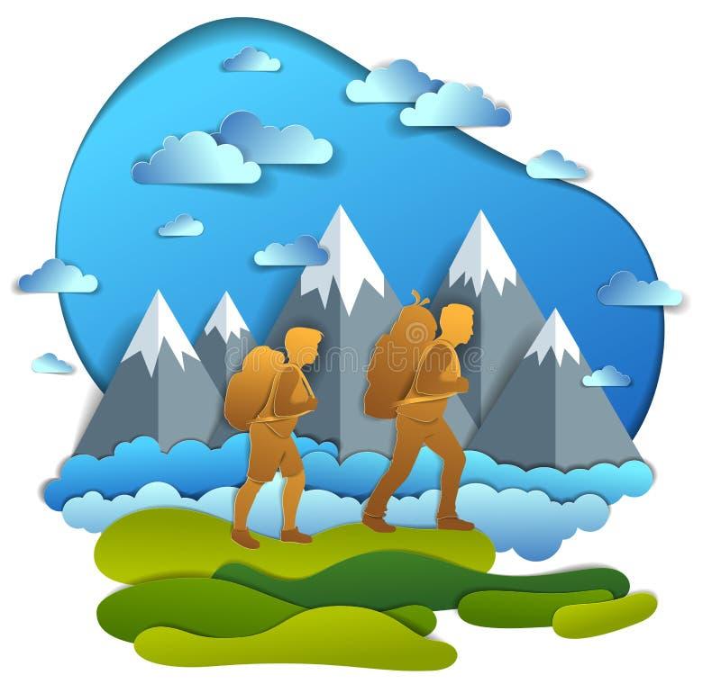 远足对与山脉、男朋友和女朋友,蜜月的自然的活跃夫妇 美好的夏天的传染媒介例证 皇族释放例证