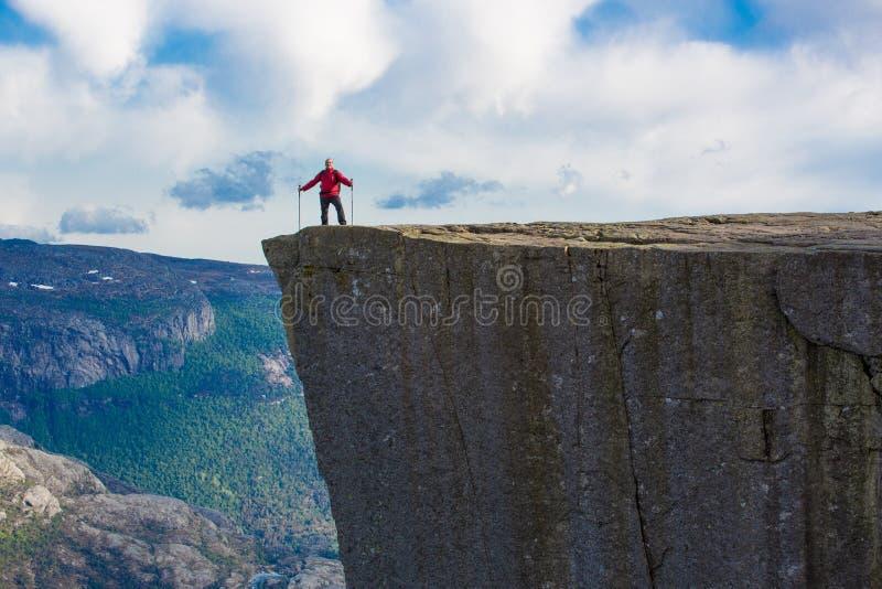 远足对布道台,挪威 库存图片