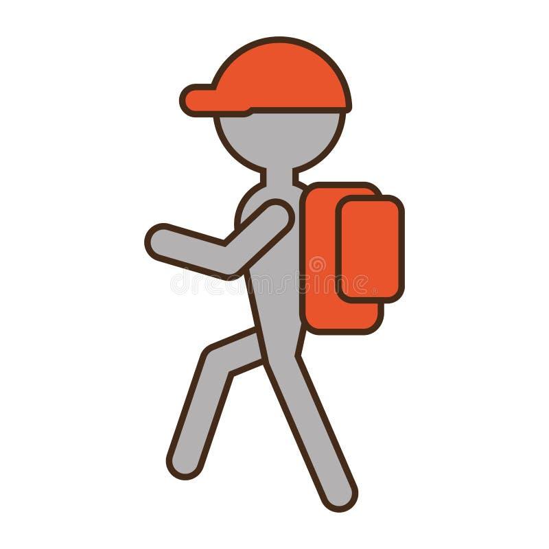 远足橙色盖帽袋子的剪影人 库存例证