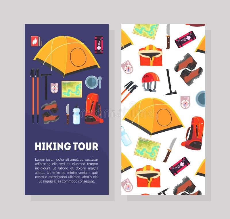 远足游览与地方的卡片模板文本和远征设备样式的,远足,野营和登山 库存例证