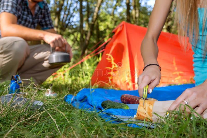 远足烹调膳食的野餐年轻夫妇 免版税图库摄影