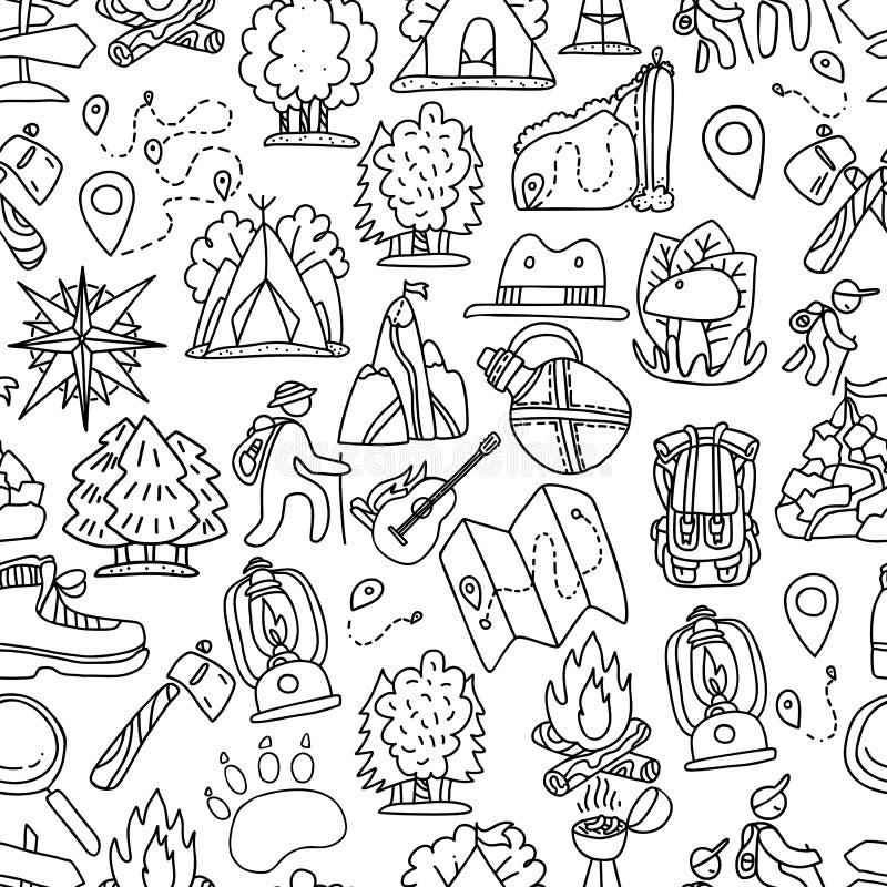 远足的和迁徙的旅行无缝的样式 与cartooning的旅行的元素的不尽的反复性的背景 皇族释放例证