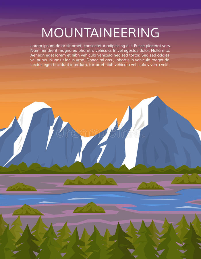 远足的或旅行的山背景 皇族释放例证